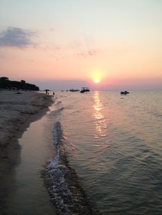 Sunset over Lake Huron at Port Austin, Michigan