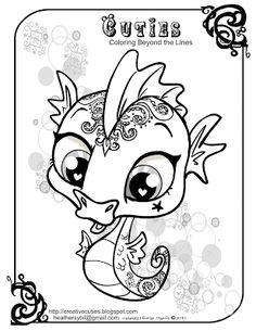 Creative Cuties: Happy Earth Day  seahorse coloring page