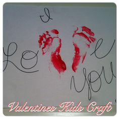 I love you!   Valentines Day Kids Craft!  All you need is paper,paint and a marker!