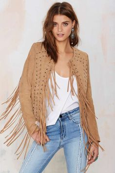 Essentiel Fringes Suede Jacket $498 at Nasty Gal!  The Fringes Jacket is made in tan suede and features fringe embellishment, stitching detail, and open front. Fully lined.