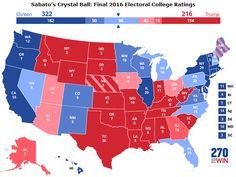 Previsão final do site 270towin.com sobre o resultado das eleições presidenciais nos EUA.