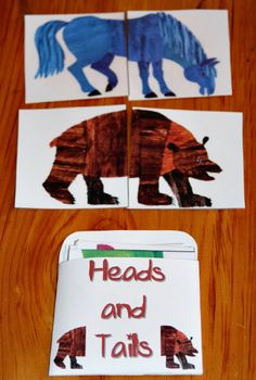 Brown Bear, Brown Bear heads and tail puzzles.  Good for a toddler busy bag.