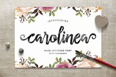 Carolinea is a hand lettered script fonts, using brush & ink combines a style brush calligraphy, irregular baseline, a rough edges, bold and organic