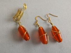 Wire wrapped orange beaded loc jewelry and earring set by OutWord on Etsy