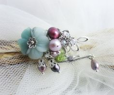 Gemstones brooch flower brooch amazonite by MalinaCapricciosa
