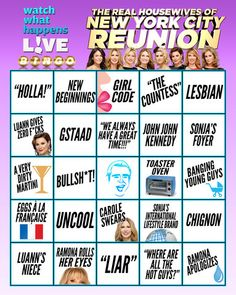 Think You Know What's Going Down on the #RHONY Reunion? Try Your Luck at Housewives Bingo! | The Daily Dish