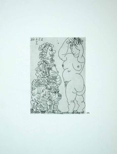1970 Heliogravure Pablo Picasso Standing Nude Female Figures Dog Etching P347B