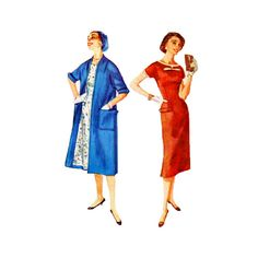 Vintage 50s Sewing Pattern Fitted Sheath Coat or by retromonkeys, $18.00