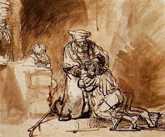 I love Rembrandt's brush work here, strong, expressive, spontaneous. Yet he also carefully captures tender expressions and subtle emotions. He's so good. / The Return of the Prodigal Son, Rembrandt, drawing with pen and brush, 1642