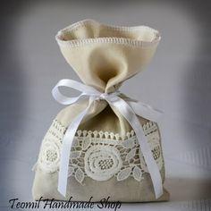 "SET OF 25 Rustic Ivory Linen Wedding Favor Bag or Gift Bag 5"" x 8""   Teomil - Wedding on ArtFire"