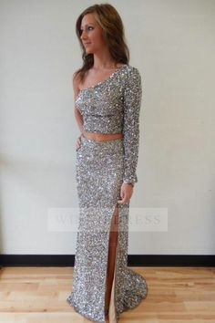 Sparkle One Sleeve Silver High Side Slit Two Piece Prom Dress