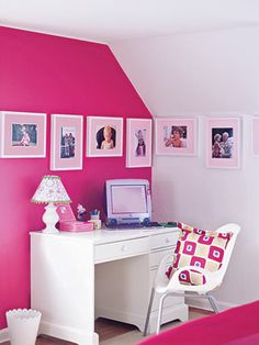 Love the accent of a hot pink wall and white