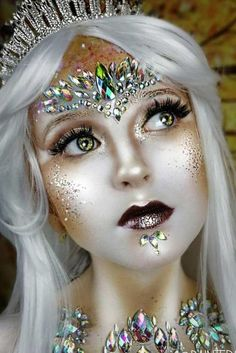 43 Fantasy Makeup Ideas To Learn What It's Like To Be In The Spotlight - Fantasy Sparkly Snow Queen Explore magic fantasy makeup looks: tribal, dragon, elf, merm - Elf Makeup, Fairy Makeup, Cosplay Makeup, Mermaid Makeup, Costume Makeup, Makeup Art, Makeup Ideas, Fairy Fantasy Makeup, Pixie Makeup