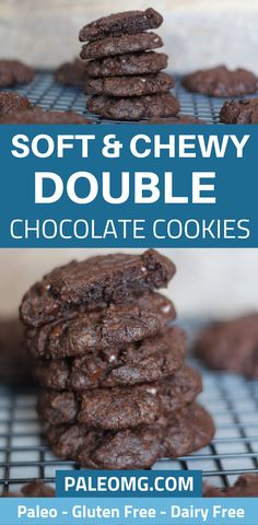 PALEO Soft and Chewy Double Chocolate Cookie Recipe, Desserts, Did someone say double chocolate cookies? We are absolutely obsessed with these delicious soft and chewy double chocolate cookies. Keto Cookies, Dairy Free Cookies, Cookies Et Biscuits, Cookies Soft, Paleo Cookie Recipe, Healthy Cookie Recipes, Healthy Cookies, Brownie Recipes, Amazing Cookie Recipes