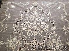 "$275 Beautiful Antique c1900 Tambour French Net Lace Coverlet 102"" x 81"" www.Vintageblessings.com"