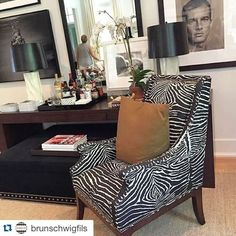 LOVE the B & F Le Zebre print in the chocolate brown!! #brunschwigandfils @brunschwigfils with @repostapp.・・・Robert Brown design at the @traditionalhome #hamptonsshowhouse, featuring B&F Le Zebre.