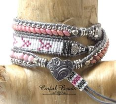 "Items similar to Pink and Silver Beaded Leather Bracelet-Cancer Awareness ""Hope"" Leather Wrap Bracelet-Loomed Boho Leather Wrap on Etsy Bracelets Wrap En Cuir, Beaded Wrap Bracelets, Bracelet Cuir, Beaded Jewelry, Jewelry Bracelets, Silver Jewelry, Silver Ring, Diy Jewelry To Sell, Handmade Jewelry"
