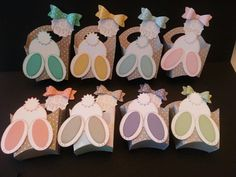 So many pretty colors, loving the fry box die to make this bunny treat box