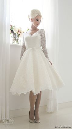 house of mooshki 2017 bridal long sleeves v neck sweetheart neckline romantic tea length short wedding dress covered lace back (beatrice) mv -- House of Mooshki 2017 Wedding Dresses