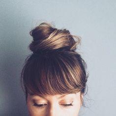 top knot, bangs