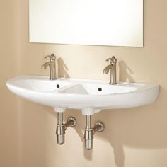 Cassin Double-Bowl Wall Sink | Signature Hardware $199.95