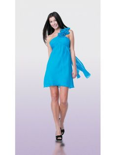 Satin Chiffon One-Shouldered Neckline Rouched Bodice Cocktail Dress