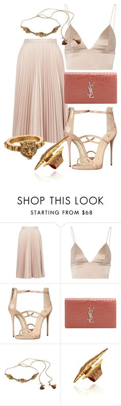 """Sem título #1759"" by mariandradde ❤ liked on Polyvore featuring Topshop, T By Alexander Wang, Giuseppe Zanotti, Yves Saint Laurent, Deepa Gurnani and Gucci"