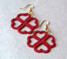 clover tatted earrings | lucky charm earrings | heart earrings | filigree red | wedding jewelry