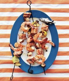 Grilled Shrimp, Salmon, and Scallop Kebabs: Try out the ultimate skewer trifecta: Spear shrimp, salmon, and scallops together. Best Grilled Shrimp Recipe, Grilled Seafood, Grilled Meat, Fish And Seafood, Pork Rib Recipes, Kebab Recipes, Grilling Recipes, Shellfish Recipes, Picnic Recipes