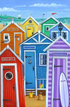 Rainbow Beach Huts Art Print by Peter Adderley. All prints are professionally printed, packaged, and shipped within 3 - 4 business days. Choose from multiple sizes and hundreds of frame and mat options. Beach Huts Art, Seaside Art, Rainbow Beach, Naive Art, Sale Poster, Beach Scenes, Rainbow Colors, Bright Colours, Fine Art Prints