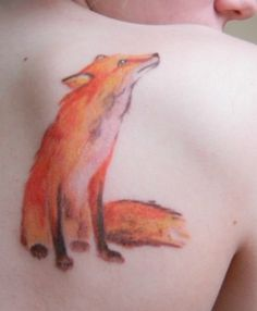 Fox tattoo - love the watercolor effect of it