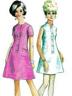 1960s Mini Dress Pattern color illustration pink white button front shift tent Simplicity 7582 Mod Dress by paneenjerez