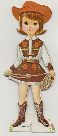 Vintage Paper Doll- I wanted to be a cowgirl when I was 5 yrs old. Vintage Cowgirl, Cowboy And Cowgirl, Cowgirl Party, Photo Vintage, Vintage Love, Vintage Cards, Vintage Images, Paper Art, Paper Crafts