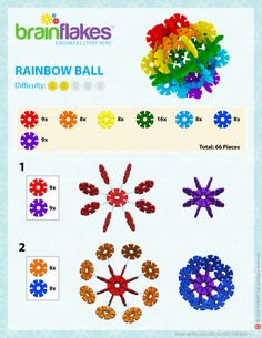 How to Build a Brain Flakes Rainbow Ball Stem Activities, Activities For Kids, Crafts For Kids, Crafty Projects, Projects To Try, Snow Flakes Diy, Toddler Fun, Building Toys, Creative Kids