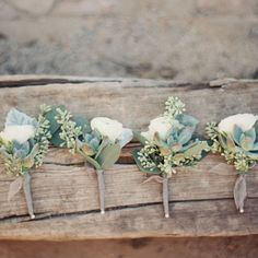white and green boutonniere, flower