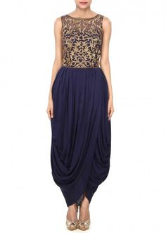 Navy blue dress enhanced in kardana and cowl drape only on Kalki