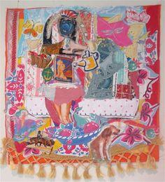 Abstract GARDENER & FLOWERS --Vintage Fabric Linens -- Folk Art Collage --Altered Quilt Assemblage -- my bonny random scraps -- horse dog by MyBonny