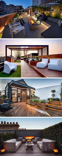 rooftop garden To inspire your own modern rooftop deck transformation, here are 10 examples of rooftop spaces that are always ready for outdoor entertaining. Rooftop Terrace Design, Rooftop Patio, Patio Roof, Backyard Patio, Backyard Landscaping, Backyard Fireplace, Terrace Ideas, Modern Backyard, Apartment Backyard