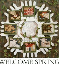 """A nice seasonal cross stitch pattern ornament set called """"Welcome Spring"""" from the Prairie Schooler! This is book #153 with nine really cute ornament designs with animals including chickens, pigs, duc"""