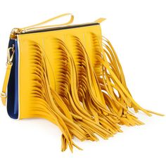 Marni Fringe Zip Clutch Bag with Strap (970 CAD) ❤ liked on Polyvore featuring bags, handbags, clutches, yellow handbag, marni, zipper handbags, fringe clutches and fringe handbags
