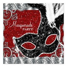 Silver Red and Black Mask Masquerade Party Personalized Announcements