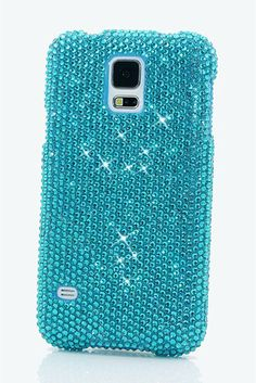 Turquoise Crystals Samsung Galaxy Note 4 bling case cover Design