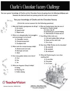 Test your students' knowledge of Charlie and the Chocolate Factory with a quiz on the book. Use this printable as an assessment for post-reading, or as a take-home activity or assignment to accompany daily reading. Roald Dahl Activities, Reading Activities, Teaching Reading, Learning, Charlie And The Chocolate Factory Crafts, Kids Book Club, Chocolates, English Worksheets For Kids, Schools First