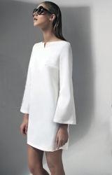 Dress-trapeze-white-long sleeve-beige