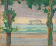 Einar Wegener: Landscape with trees in the foreground, 1911. Signed on label n the reverse. Oil on board. 23×27 cm.  Auction