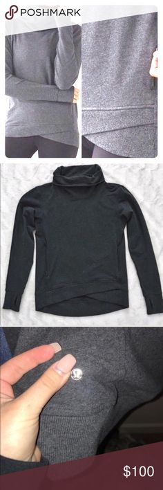 Lululemon On the Double Pullover Lululemon On the Double Pullover   Soft Stretch French Terry fabric, high cowl neck, zip up front pockets, media pocket for iPhone, loose fit for comfort, thumb hole sleeves. Size 2. lululemon athletica Tops