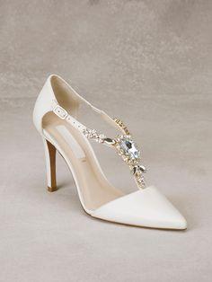 ALDA - Zapato de novia en piel con aplicación de pedrería