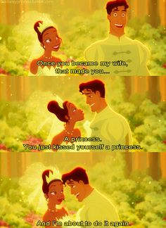 LOVE THIS COUPLE. Tiana is so serious and so sassy and Naveen is mischievous and fun. Squee!