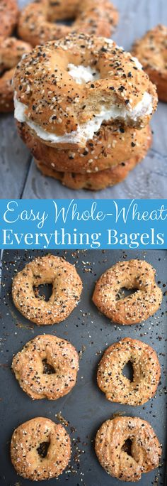 Easy Whole-Wheat Everything Bagels have just are made with Greek yogurt, don't require yeast or boiling, are made in the oven and can be made ahead of time and frozen! Healthy Bagel, Healthy Snacks, Baking Recipes, Keto Recipes, Bread Recipes, Healthy Recipes, Whole Wheat Bagel, Greek Yogurt Chicken Salad, Chicken Salads