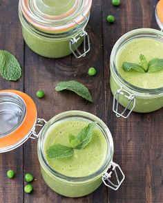 This spring pea and mint soup is fresh, creamy, low in calories and healthy. With no added dairy, it's vegan too.